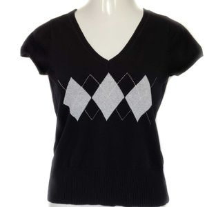 Liz & Co. Black & Gray Short Sleeve V-neck Sweater